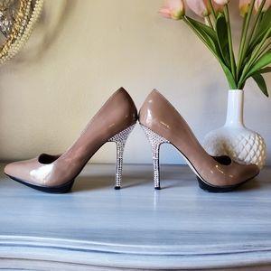 Jessica Simpson Nude Heels w/ Crystal Heels